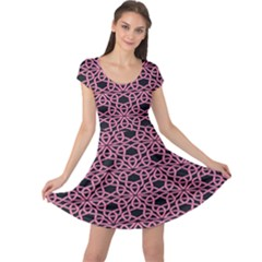 Triangle Knot Pink And Black Fabric Cap Sleeve Dresses
