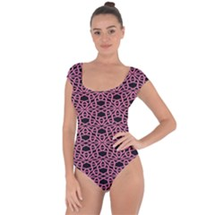 Triangle Knot Pink And Black Fabric Short Sleeve Leotard