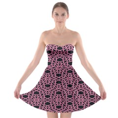 Triangle Knot Pink And Black Fabric Strapless Bra Top Dress
