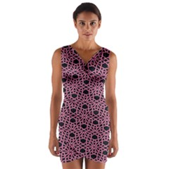 Triangle Knot Pink And Black Fabric Wrap Front Bodycon Dress
