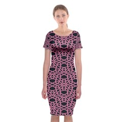 Triangle Knot Pink And Black Fabric Classic Short Sleeve Midi Dress