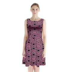 Triangle Knot Pink And Black Fabric Sleeveless Waist Tie Chiffon Dress