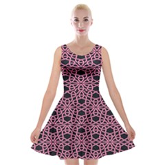 Triangle Knot Pink And Black Fabric Velvet Skater Dress
