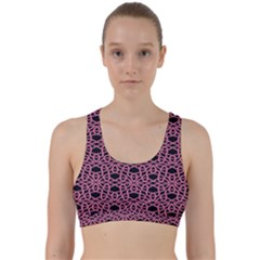 Triangle Knot Pink And Black Fabric Back Weave Sports Bra