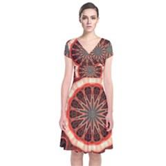 Circle Pattern Short Sleeve Front Wrap Dress