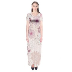 Leaves Pattern Short Sleeve Maxi Dress by BangZart