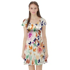 Vector Floral Art Short Sleeve Skater Dress