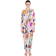 Vector Floral Art Hooded Jumpsuit (ladies)