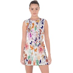 Vector Floral Art Lace Up Front Bodycon Dress