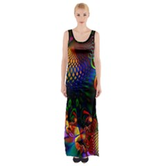 Colored Fractal Maxi Thigh Split Dress