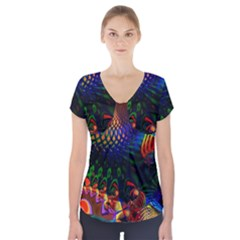 Colored Fractal Short Sleeve Front Detail Top