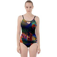 Colored Fractal Cut Out Top Tankini Set