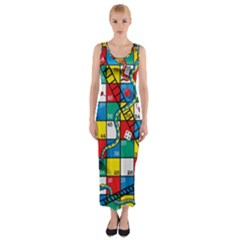 Snakes And Ladders Fitted Maxi Dress