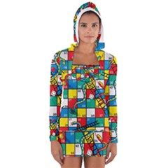 Snakes And Ladders Long Sleeve Hooded T Shirt
