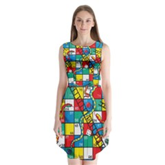 Snakes And Ladders Sleeveless Chiffon Dress