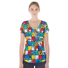 Snakes And Ladders Short Sleeve Front Detail Top