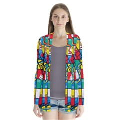 Snakes And Ladders Drape Collar Cardigan