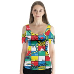 Snakes And Ladders Butterfly Sleeve Cutout Tee
