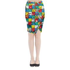 Snakes And Ladders Midi Wrap Pencil Skirt