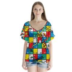 Snakes And Ladders Flutter Sleeve Top