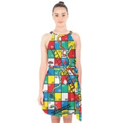 Snakes And Ladders Halter Collar Waist Tie Chiffon Dress