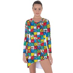 Snakes And Ladders Asymmetric Cut Out Shift Dress