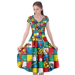 Snakes And Ladders Cap Sleeve Wrap Front Dress