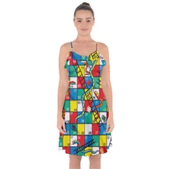 Snakes And Ladders Ruffle Detail Chiffon Dress