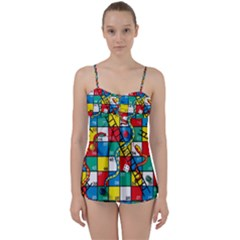 Snakes And Ladders Babydoll Tankini Set