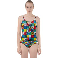 Snakes And Ladders Cut Out Top Tankini Set