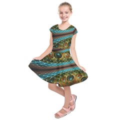 Fractal Snake Skin Kids  Short Sleeve Dress