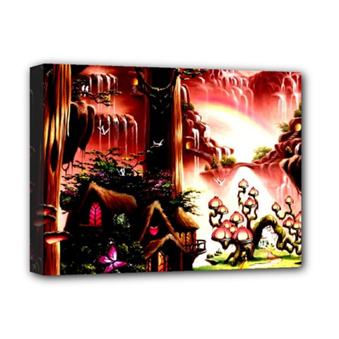 Fantasy Art Story Lodge Girl Rabbits Flowers Deluxe Canvas 16  X 12   by BangZart