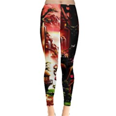 Fantasy Art Story Lodge Girl Rabbits Flowers Leggings