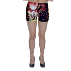 Fantasy Art Story Lodge Girl Rabbits Flowers Skinny Shorts