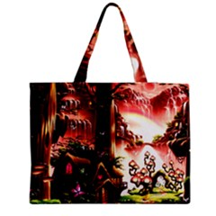 Fantasy Art Story Lodge Girl Rabbits Flowers Medium Zipper Tote Bag