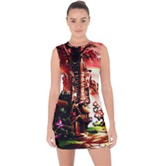 Fantasy Art Story Lodge Girl Rabbits Flowers Lace Up Front Bodycon Dress