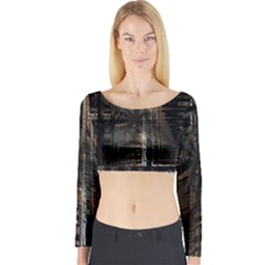 Blacktechnology Circuit Board Electronic Computer Long Sleeve Crop Top