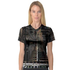 Blacktechnology Circuit Board Electronic Computer V Neck Sport Mesh Tee