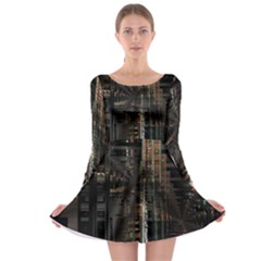 Blacktechnology Circuit Board Electronic Computer Long Sleeve Skater Dress