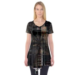 Blacktechnology Circuit Board Electronic Computer Short Sleeve Tunic