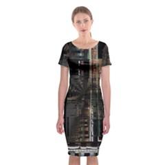 Blacktechnology Circuit Board Electronic Computer Classic Short Sleeve Midi Dress