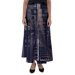Blacktechnology Circuit Board Electronic Computer Flared Maxi Skirt