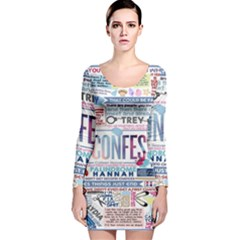 Book Collage Based On Confess Long Sleeve Velvet Bodycon Dress