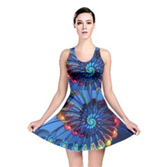Top Peacock Feathers Reversible Skater Dress