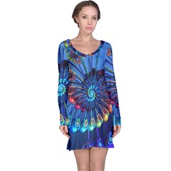 Top Peacock Feathers Long Sleeve Nightdress