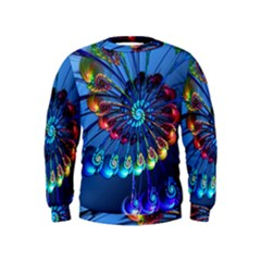 Top Peacock Feathers Kids  Sweatshirt by BangZart