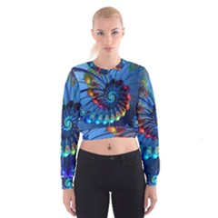 Top Peacock Feathers Cropped Sweatshirt