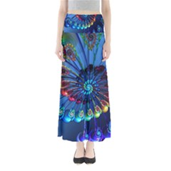 Top Peacock Feathers Full Length Maxi Skirt