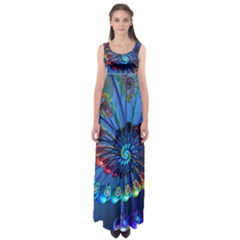 Top Peacock Feathers Empire Waist Maxi Dress
