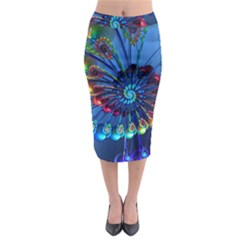 Top Peacock Feathers Midi Pencil Skirt